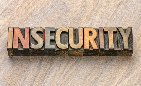 insecurity word in vintage letterpress wood type Stock Photo