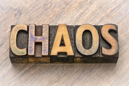 chaos word in vintage letterpress wood type printing blocks