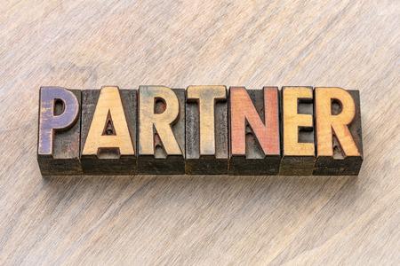 partner word in vintage letterpress wood type printing blocks