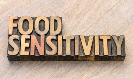 food sensitivity word in vintage letterpress wood type printing blocks 版權商用圖片