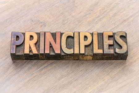 principles word in vintage letterpress wood type printing blocks