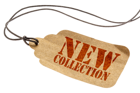 new collection sign - a paper price tag with a twine isolated on white Stock fotó