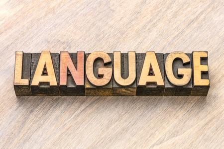language word in vintage letterpress wood type blocks Stockfoto