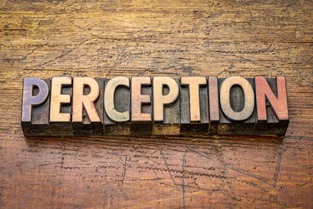 Percepción palabra en bloques de tipo madera tipografía vintage