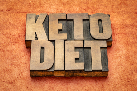 keto diet word abstract in vintage letterpress wood type against textured paper Фото со стока