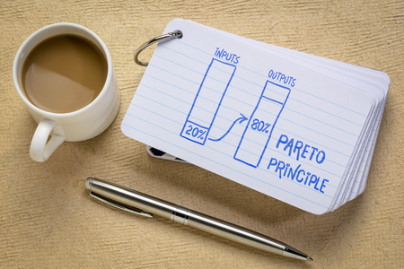 Pareto 80-20 principle concept - a sketch on a stack of index cards with a cup of coffee and  a pen