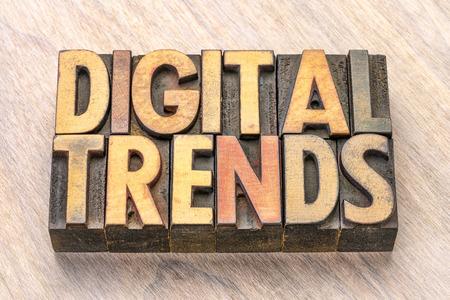digital trends word abstract in vintage letterpress wood type printing blocks