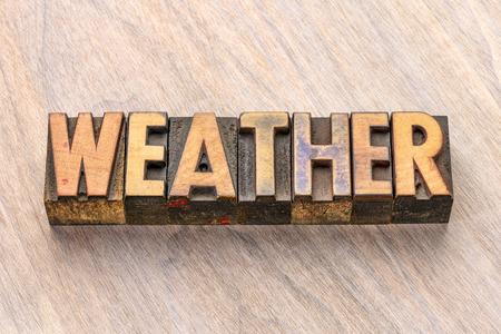 weather word abstract in vintage letterpress wood type printing blocks