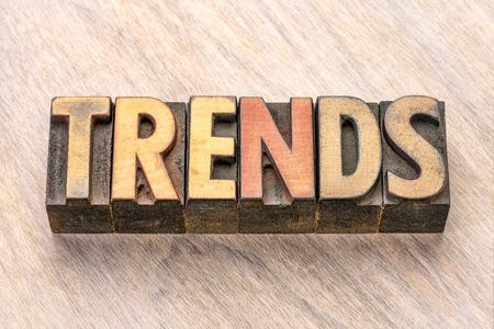 trends word abstract in vintage letterpress wood type printing blocks