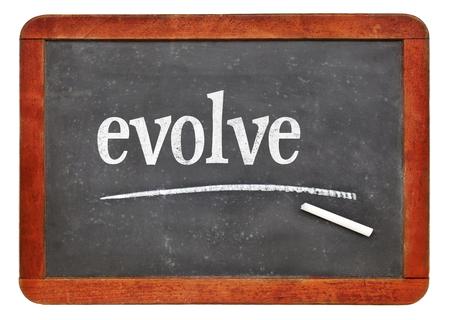 Evolve - white chalk text on a vintage slate blackboard