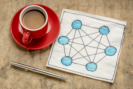 concept of fully connected computer network (mesh) - napkin doodle with a cup of espresso coffee against tetured bark paper Stock Photo