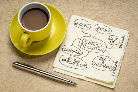 conflict resolution strategies - doodle on a napkin with a cup of coffee Stock Photo