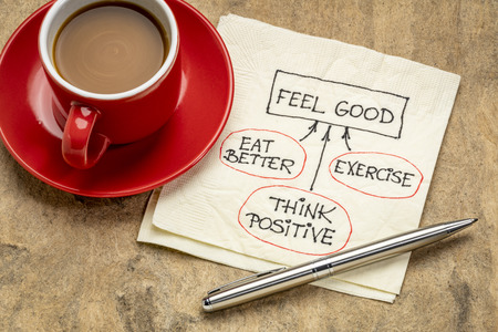 think positive , exercise, eat better - concept of feeling good - sketch on cocktail napkin with coffee cup Stock Photo