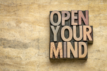 open your mind - word abstract in vintage letterpress wood type blocks on textured bark paper with a copy space