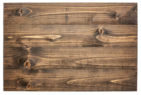 stained wooden board sign isolated on white