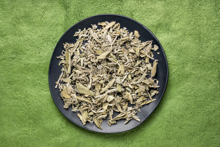 dry Greek sage herb tea (fascomilo) on a black plate against green textured bark paper Stock Photo