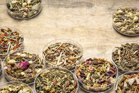 collection of  herbal blend Chinese tea samples in round bowls (Petri dish) on a textured handmade bark paper with a copy space