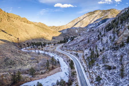 Canyon in Rocky Mountains of Colorado - Poudre River in winter scenery, aerial perspective