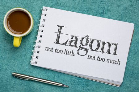 Lagom, not too little, not too much, just right - Swedish philosophy for a balanced life, handwriting on an art sketchbook with a cup of coffee Stockfoto - 118805798