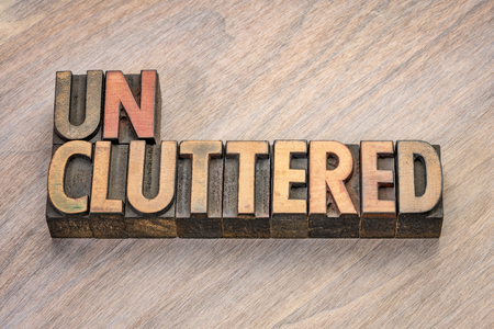 uncluttered word abstract in vintage letterpress wood type blocks