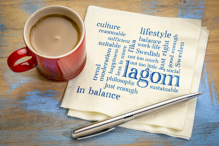 lagom, Swedish concept of balanced lifestyle - word cloud on a napkin with a cup of coffee