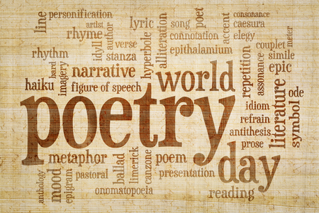 world poetry day - word cloud on papyrus  paper with yellow and brown fiber pattern