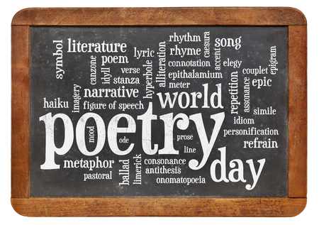 world poetry day word cloud - white chalk text on a slate blackboard isolated on white