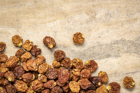 dried goldenberries on a textured bark paper background with a copy space