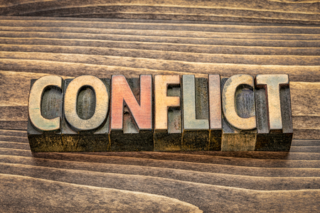 conflict - word abstract in vintage letterpress wood type blocks