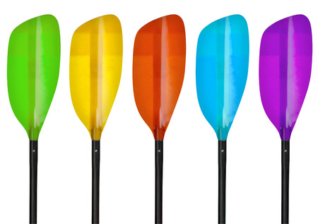 fiberglass blade of whitewater kayak paddle isolated on white, different coloring versions