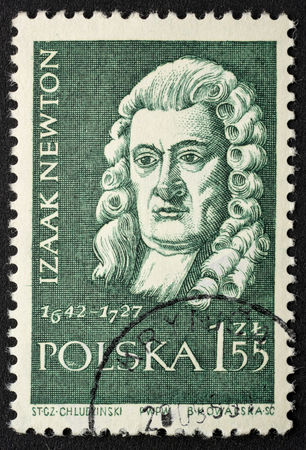 Isaac Newton,  English mathematician, physicist, astronomer, portrait on a vintage, canceled post stamp from Poland (circa 1959).
