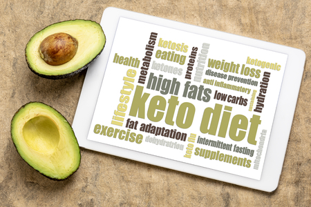 keto diet word cloud  on digital tablet with a cut avocado against bark paper Stock Photo