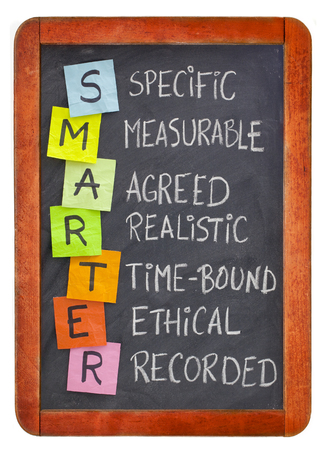 SMARTER (specific, measurable, agreed, realistic, time-bound, ethical, recorded) - acronym for goal setting methodology, white chalk handwriting, colorful sticky notes on isolated blackboard