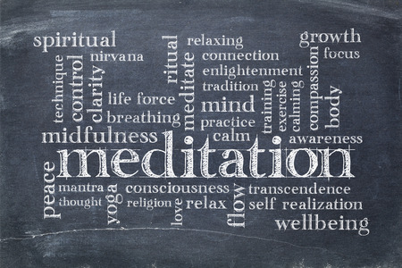meditation word cloud on a vintage slate blackboard with white chalk smudges