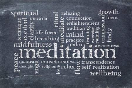 Nube de palabras de meditación en una pizarra de pizarra vintage con manchas de tiza blanca