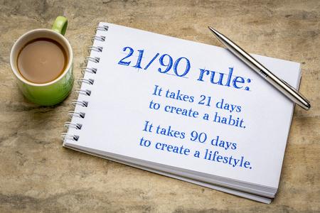 sviluppare l'abitudine e lo stile di vita regola 21-90 - scrittura a mano motivazionale in un album da disegno a spirale contro carta di corteccia ruvida con una tazza di caffè