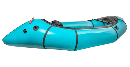 a teal inflatable packraft (one-person light raft used for expedition or adventure racing) isolated on white