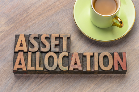 asset allocation word abstract in vintage letterpress wood type