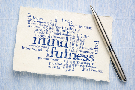 mindfulness word cloud - handwriting on a sheet of rough Khadi paper