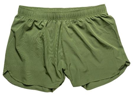 men's green running shorts isolated on white