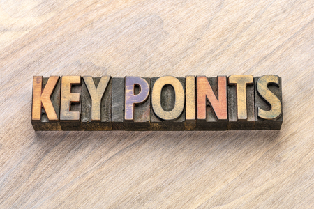 key points word abstract in vintage letterpress wood type Foto de archivo
