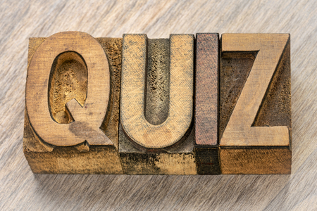 quiz word abstract in vintage letterpress wood type printing blocks Banque d'images - 122570025