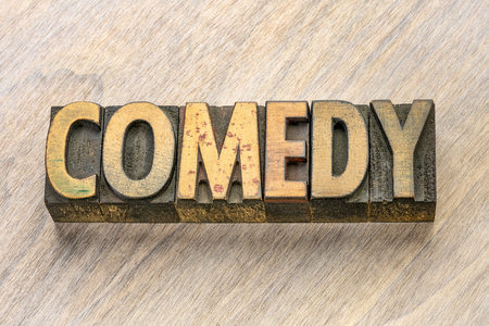 comedy word abstract in vintage letterpress wood type printing blocks 版權商用圖片