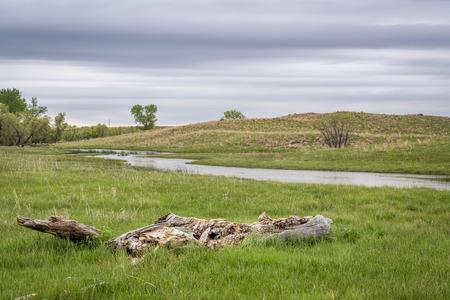 stream meandering through Nebraska Sandhills, spring scenery