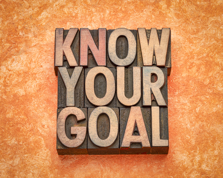 know your goal - inspirational word abstract in vintage letterpress wood type