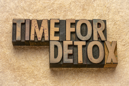 Tiempo para recordatorio de desintoxicación - Resumen de palabras en bloques de impresión de tipo de madera de tipografía vintage