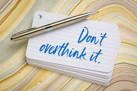 Do not overthink it reminder - handwriting on a stack of index cards Stock fotó