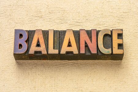 balance word abstract in vintage letterpress wood type printing blocks