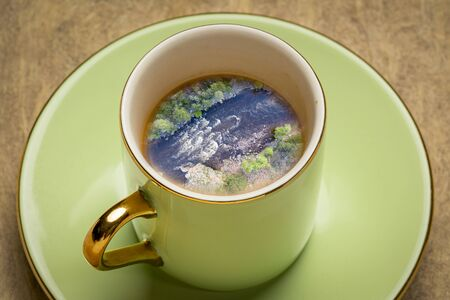Whitewater coffee dream - landscape of a mountain river inside expresso coffee cup.