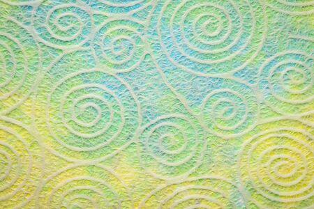 Japanese Washi tissue with white Uzumaki pattern spirals against marbled mulberry paper 版權商用圖片
